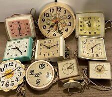 10) Lot Vintage General Electric GE Wall/Desk Clocks- Sunbeam, Timex Mid Century