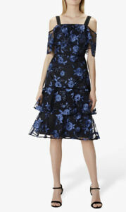 Coast Size 12 Cruella Black and Blue Floral Embroidered Tiered Dress