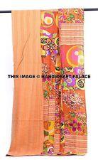 Handmade Patchwork Kantha Bedspread Quilt Bed cover Blanket Orange Floral Indian
