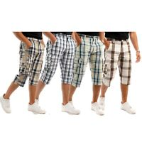 Mens 3/4 Long Length Shorts Check Cargo Combat Three Quarter 100% Cotton Trouser