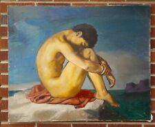 Vintage Large Young MALE NUDE Seated by The SEA  after Flandrin Oil PAINTING