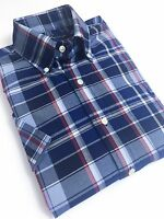 Ralph Lauren Men's Oxford Shirt Blue/Red Tartan Checks Short Sleeve
