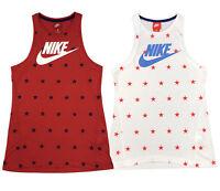 Nike Womens Sportswear Lightweight Stars Tank Top Shirt White/Red New