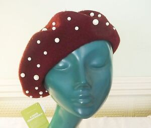 LETTUCE CHIC BURGUNDY RED BERET WOOL FELTED FAUX PEARLS EVENING SMART DAY WEAR