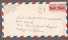 1955 cover Mrs Haruyo Smith Kanagawa Japan Navy 17008 BR Atsugi ? to Vallejo CA