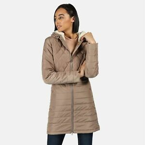 Regatta Women's Parmenia Insulated Quilted Hooded Parka Jacket Natural Stone 10