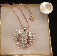 Betsey Johnson Necklace Baseball Softball  HEART Rose Gold Crystal  Gift Box Bag