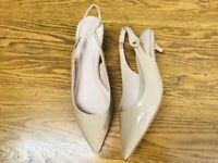 KATE SPADE NY SLING BACK PATENT LEATHER KITTEN HEEL SHOES NWOB SIZE 8