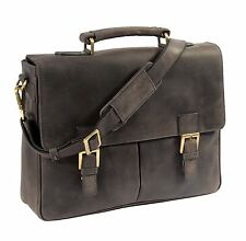 Mens Real Leather Briefcase Navy Vintage Satchel Office Collage Uni Shoulder Bag
