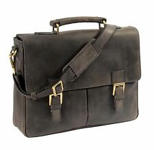 Mens Navy Leather Briefcase Classic Vintage Satchel Office Business Laptop Bag