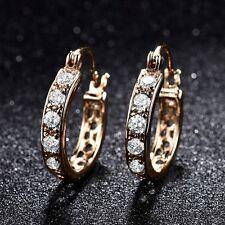 Womens Pierced Jewelry Gold Filled White Sapphire Crystal Hoop Stud Earrings
