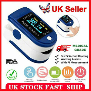 Finger Pulse Oximeter Blood Oxygen Saturation SPO2 Heart Rate Patient Monitor UK