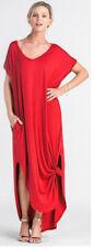 Oversized Soft Knit Long T-Shirt Maxi Dress Loose Draping Dolman Sleeves Pockets