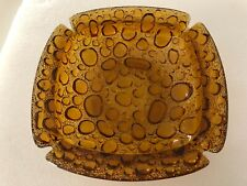 "New listing 8"" Vintage Retro Blenko Amber Ashtray Bubble Glass Mid Century Square Large"