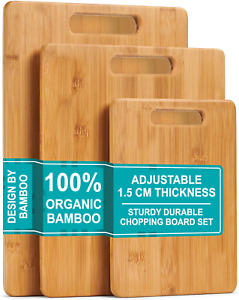 3 Piece Wooden Chopping Board Set Small Medium Large Kitchen Food Cutting Boards