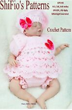 CROCHET PATTERN for BABY ANGEL SET PANTS BERET 3 SIZES #319 NOT CLOTHES