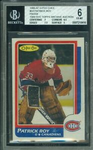 1986 86-87 OPC O-PEE-CHEE PATRICK ROY RC ROOKIE RARE PROOF TOPPS ARCHIVE '89 BGS