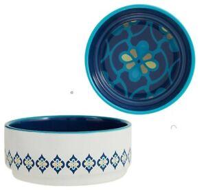 Top Paw® White & Blue Mosaic Ceramic Dog Bowl - (1) 26 oz Food & Water Dish