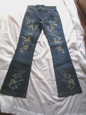 "Willi Smith Beaded Embellished Jeans Size 4 Cotton Blend Inseam 33""  EUC"