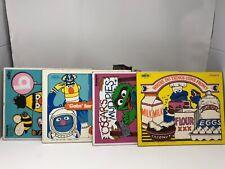 Lot Of 4 Vintage 1973 1974 Wooden Puzzle Playskool Sesame Street Muppets Bert