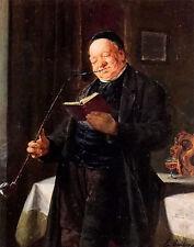 Oil painting eduard von grutzner - a clergyman smoking male portrait on canvas