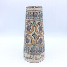 Vase tronconique céramique émaillée polychrome signée Pierre de Verclos Nabeul