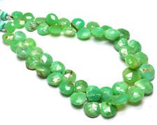 """PH-038 Chrysoprase Heart Faceted Gemstone Beads 8mm-11mm 135Ct 8.5"""" Strand $"""