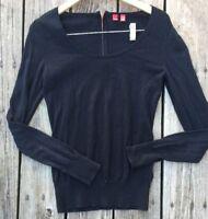 Esprit Black Zip Knit Top Light Sweater Ziper 100% Cotton Size Small J5
