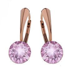 Argento Sterling Orecchini Rose Gold Plat LUCE cristalli di AMETISTA da Swarovski ®