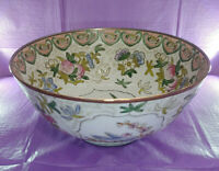 """***Antique Large Floral Hand Painted Chinese 10"""" Porcelain Bowl 