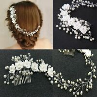 Pearl Jewelry Handmade Prom Hair Ornaments Headband Bridal Headpiece Hair Comb