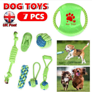 7X Dog Rope Toys Nolsen Pet Puppy Chew Toy Gifts Durable Cotton Clean Teeth UK