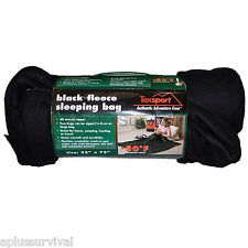 "50 Degree Fleece Sleeping Bag Black 32""x75"" Camping Survival Emergency Disaster"