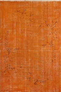 4x6.4 Ft (116x193 cm) Orange Color OVERDYED Handmade Vintage Turkish Rug no534