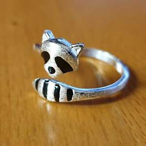 Racoon Ring Silver plated Copper Alloy Adjustable - UK SELLER