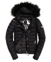 Superdry Womens Fuji Slim double zip Jacket Black Coat Fur Hooded