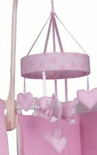 Baby Musical Mobile Pink with Soft Brahms Lullaby Sounds Nursery Cot Crib Hearts