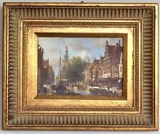 "Manner of J F Spohler - Amsterdam Canal Scene Munttoren Painting on 5""x7"" Panel"