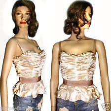 Dolce & Gabbana Draped Cream Silk Leopard print Lining Boned Corset Bustier
