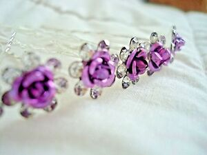 10 Dark Purple Rhinestone Flower Wedding Bridal Hair Pins Accessories Party Prom