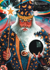 MERLIN WIZARD Psychedelic Art UV Black Light Postcard Glow-In-The-Dark Neon Fluo