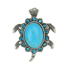 Tibet Silver Tortoise Cocktail Finger Ring Vintage Statement Turquoise Stone