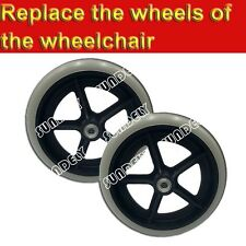Brand New Pair ( 2 ) 20cm Grey Rubber Replacement Wheelchair Wheels