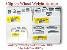 200 Pcs ZN CLIP-ON Wheel Weight Balance AW 0.25 0.50 0.75 1.00 0Z / 50 of Each