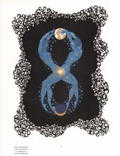"ERTE' ""NUMBER 8"" NUMERAL SERIES NUDE COUPLE SUN MOON EARTH STARS ART DECO PRINT"