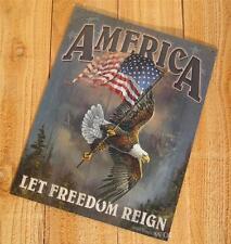 American USA Flag Pole Bald Eagle Patriotic Civil Liberty Metal Sign Art Picture