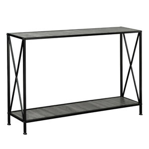 Grey MDF Countertop Black Wrought Iron Base 2 Layers Forked Console Table