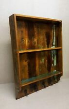 Industrial Wooden Shelf Unit with Hooks Distressed Reclaimed Wood Hall Storage