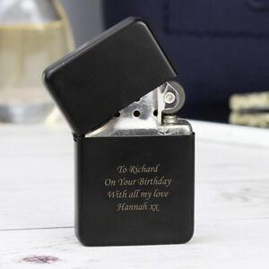 Personalised Matt Black Windproof Lighter - Engraved Free - Birthdays, Dad, Him