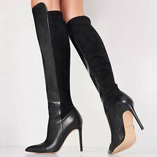 """Qoidia by ALDO, Black GENUINE leather, 4"""" stiletto heel stretch OTK boots SZ 7.5"""
